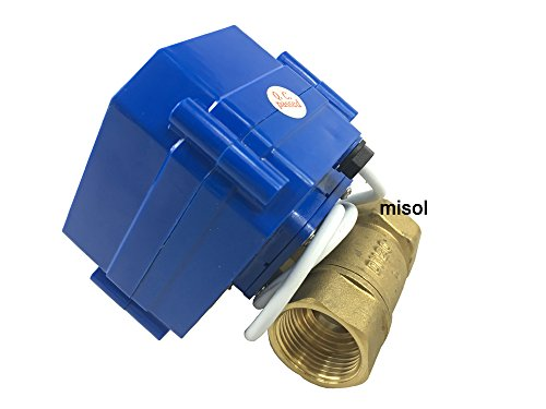 MISOL 1pcs of 110V motorized ball valve DN20 (NPT), brass,2 way, electrical valve, motorized valve/Motorischer Kugelhahn DN20 (NPT), Messing, 2 Wege, elektrisches Ventil, motorisches Ventil -