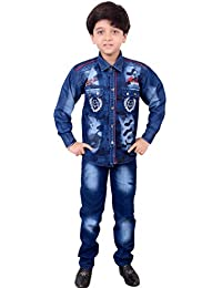 Arshia Fashions Boy's Denim and Cotton Shirt and Pant Set BY193