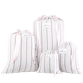 Neoviva Cotton Denim Drawstring Storage Bags for Home and Travel Organization, Set of 4 in Different Sizes, Slim Striped Mauve Morn