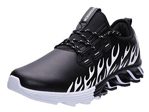 JOOMRA Herren Athletische Runners Turnschuhe Laufschuhe Freizeit Mode Sneaker Lightweight IM Angebot Trainers Schuh für Das Training auf der Straße Männer Schwarz,Weiß 42 EU