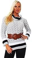 10367 Fashion4Young Damen Strick LongPullover Pullover Pulli Mit Gürtel in Grau Rollkragen