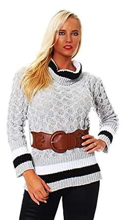 10367 Fashion4Young Damen Strick LongPullover Pullover Pulli Mit Gürtel in Grau Rollkragen (36/38, Grau)