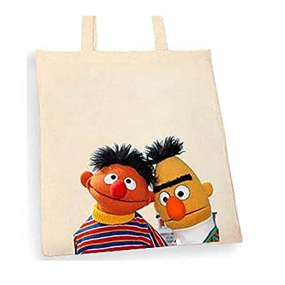 Sesame Street Bert and Ernie Tote bag. Beige cotton bag, Cotton Tote Bag, Can be used as a bag for life shopping bag, handbag, fashion bag, school bag, beach bag, shoulder bag. - handmade-bags