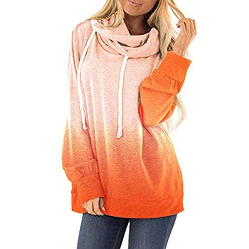 ➤Refill➤Kapuzenpullover für Damen, Damen Drawstring Kontrastfarbe Pullover Rollkragen Sweatshirt Kapuzenpulli Top Hoodies Sweatshirt Langarm T-Shirts & Blusen Langarmshirts