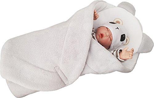 BlueberryShop VLIES mit Kissen sehr WARME und schöne Wickeldecke, Decke, Schlafsack, GESCHENK für Neugeborene 0-4M ( 0-3m ) ( 78 x 78 cm ) Rosa