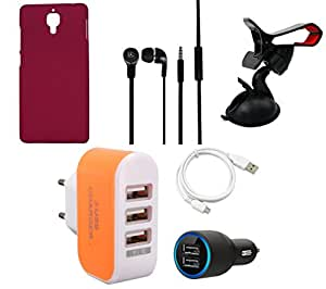 NIROSHA Cover Case Car Charger Headphone USB Cable Mobile Holder Charger for Xiaomi Mi4 - Combo