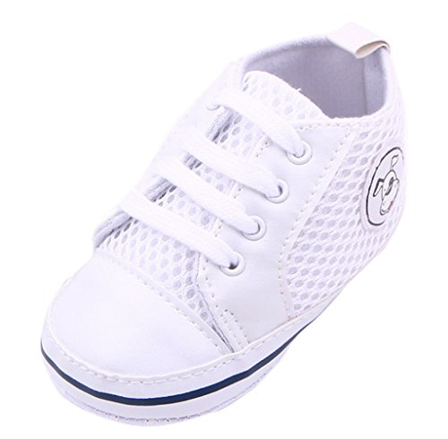 Lukis Baby Lauflernschuhe Sneaker Canvas Sports Schuhe Babyschuhe Weiß Fußlänge13cm