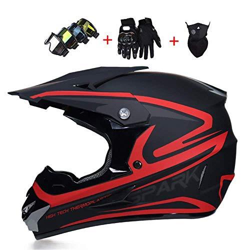 Kuccy Full Face Motorradhelm, Enduro Motocross Helm Motorrad-Helme XR-991 Adult Helmet Schutzhelm MTB Integralhelm Schutz Sicherheit Motocrosshelm Handschuhe Maske Brille Motorradhelme,M