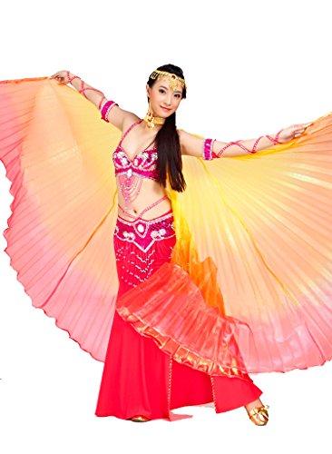 Calcifer® Marke neue Ägyptische Ägypten Belly Dance Flügel Isis Flügel Kostüm Geschenk für Big Party Weihnachten, Yellow&Orange&Red