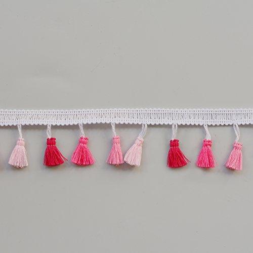 Quaste Kleid Fransen Rand 35mm breit, Meterware 35 mm Pinks
