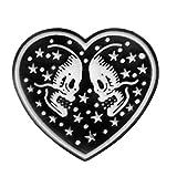 BESTOYARD Punk Forma de corazón Broche de Esqueleto Cráneo Negro Esmalte Pin Capa Insignia Pareja Joyería Regalos