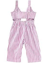 Pantalones Monos Tirantespara Niñas Verano PAOLIAN Peleles Conjuntos Bebes Niñas Recién Nacidos Bautizo Fiesta Vestir Espalda Descubierta Rayas 6 Meses-5 Años