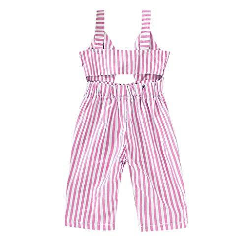 DressLksnf Baby Mädchen Overall Ärmellos Streifen Streifen Jumpsuit Baby Strap Offenem Rücken Overall
