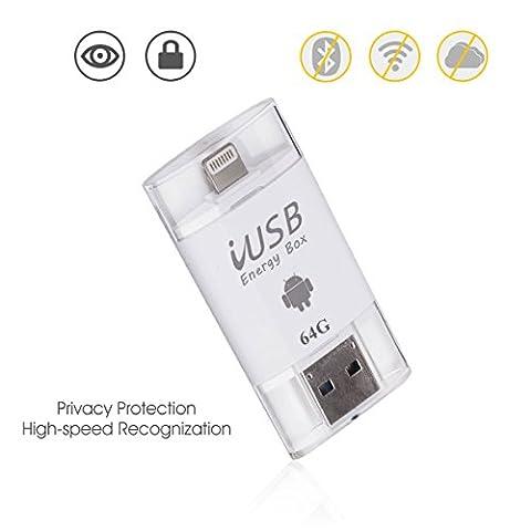 iPhone Flash Drive 64GB, Memoria de cifrado de Touch ID Expandir Adaptador USB 3.0 y Micro USB y conector de relámpago Almacenamiento externo 3 en 1 para iPad iPod MacBook Laptop IOS Dispositivo Blanco (Flash-Laufwerk 64GB)