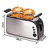 TZS First Austria – gebürsteter Edelstahl 4 Scheiben Toaster 1500W mit Krümelschublade Sandwich Langschlitz | abnehmbarer Brötchenaufsatz | wärmeisoliertes Gehäuse, stufenlose Temperatureinstellung - 2
