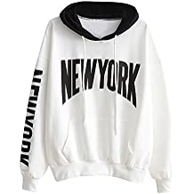 Sweat à Capuche Femme, Homebaby Femmes Lettre D'Impression Sweat à Capuche Sweatshirt Pull à Capuche Long Manches Tops Casual Blouse New York Sweatshirt Blanc