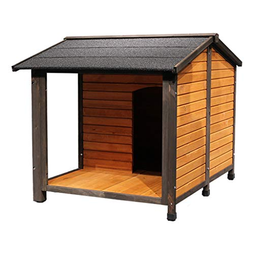 Perrera Casa De Perro De Madera Maciza para Exteriores, Impermeable, con Filtro Solar, Cuadrado para Villa, Apto para 20 Libras De Mascotas Cajones (Color : Brown, Size : 83 * 105 * 80cm)