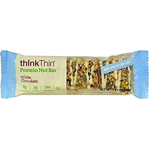 Think Products Thin Crunch Bar - White Chocolate Nut - Case of 10 - 1.41 oz - Gluten Free - Wheat Free - by Think Products