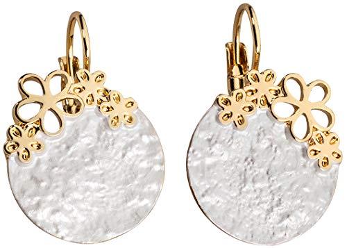 Perlkönig | Damen Frauen | Ohrringe Set | Ear Cuffs | Silber Gold Farben | Blättchen mit Blumen | Stecker | Nickelfrei