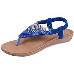 Damen Flache Schuhe Xinan Böhmen Sandalen Peep Toe Flip Flops (40, Blau)