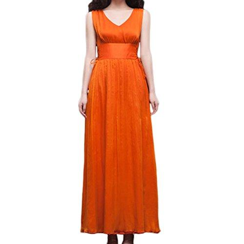 Nanxson(TM) Robe De Soirée Cocktail Sans Manches Col En V Maxi Pour Femmes LYQ0217 Orange