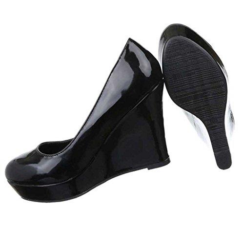Damen Pumps Schuhe Keil High Heels Stiletto Schwarz Blau Pink Rot 35 36 37 38 39 40 Schwarz