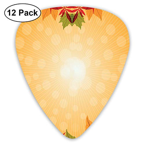 Guitar Picks12pcs Plectrum (0.46mm-0.96mm), Striped Dotted Background And Vibrant Maple Aspen Oak Leaves Seasonal Nature,For Your Guitar or Ukulele -