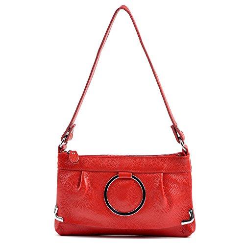 GSPStyle Damen Leder Handtasche Schultertasche Mode Umhängetaschen Damentasche Rot