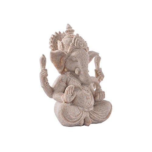 Estatua de Arenisca Ganesha Estatuilla Escultura de Buda Elefante Hecha a Mano Decoración