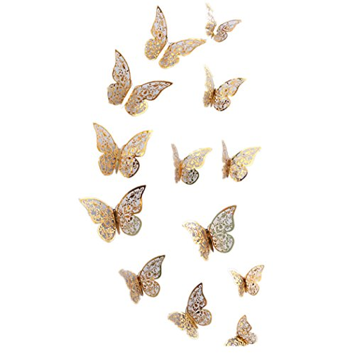 FORH 12 PCS 3D Schmetterlinge Wanddeko Aufkleber Abziehbilder Wand Aufkleber Hauptdekorationen Wandtattoo Schmetterlings Regenbogen Wand-dekor Kinder Baby Schlafzimmer Deko (Gold B)