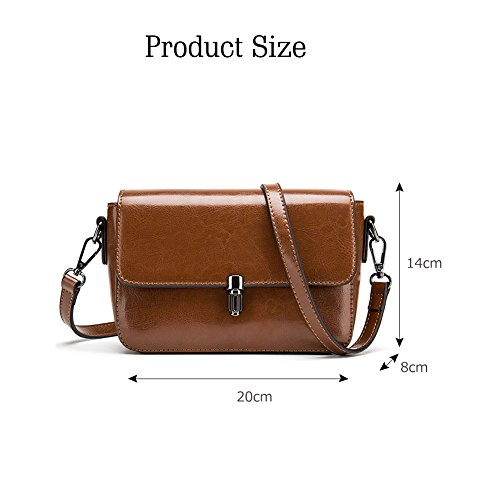 Borsa a tracolla a spalla in vera pelle vintage vera borsa da donna in vera pelle Yoome - marrone Marrone