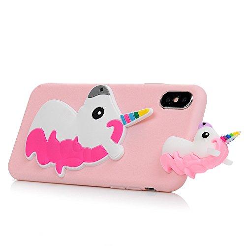 Coque iPhone X Mavis's Diary Étui Housse de Protection TPU Silicone Gel Souple 3D Bumper Phone Case Cover Protection écran Swag Pour iPhone X Edition + Chiffon - Flamant Licorne