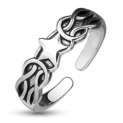 Bungsa® Stern & Ketten Zehenring Silber Damen Brass (Zehring Fussschmuck Fussring Toe-Ring Nail Ring Nagelring biegbar verstellbar)