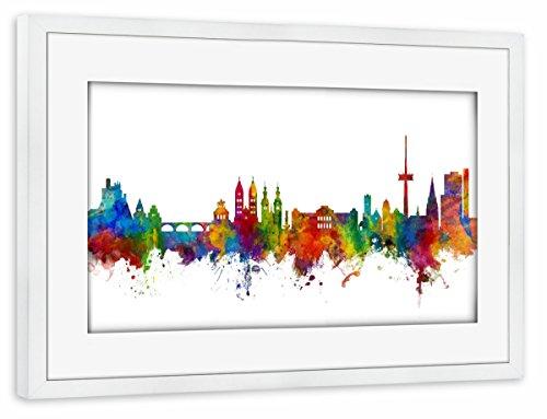 "artboxONE Poster mit Rahmen weiß 60x40 cm ""Koblenz Germany Skyline"" von Michael Tompsett - gerahmtes Poster"