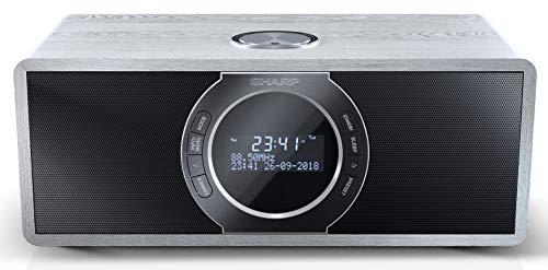 SHARP DR-S460GR Radio numérique stéréo avec Dab/Dab+/FM, Bluetooth 4.2, Fonction d'alarme/Sommeil et Snooze en Bois Gris