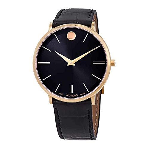 Movado Men's Ultra Slim 40mm Black Leather Band Quartz Analog Watch 0607173