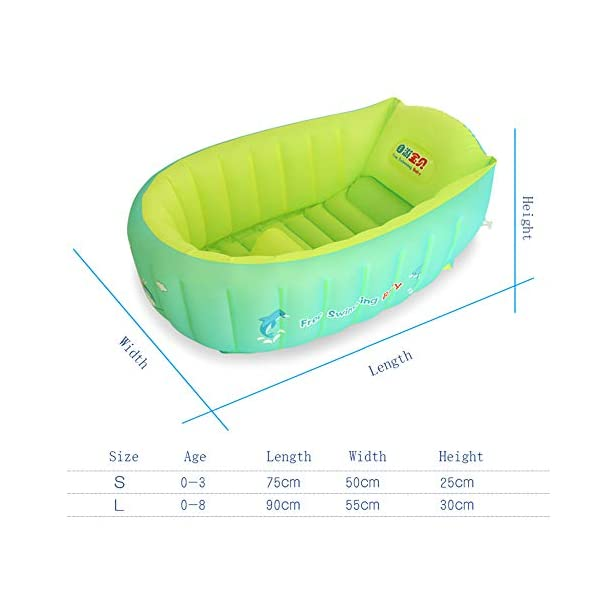 YAAVAAW Inflatable Baby Bathtub,Infant Shower Tub Anti-Slip Shower Basin,Toddler Bathing Seat Mini Swimming Pool Foldable Travel Bath Tub Shower Basin with Soft Cushion Central Seat(for 0-3 Years) 2