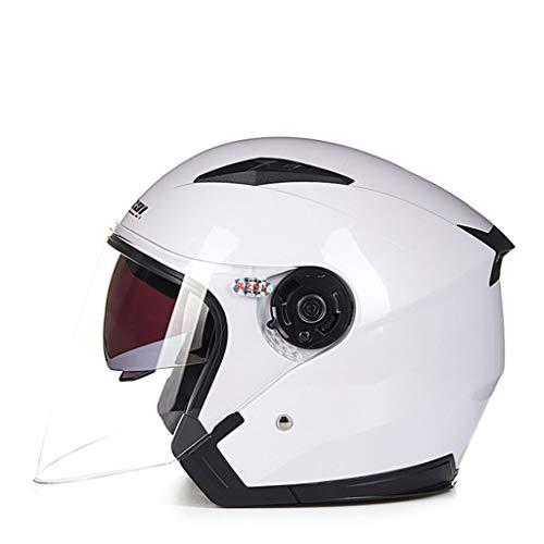 Yunyisujiao Motorrad-elektrischer Helm Männer und Frauen halb bedeckte doppelte Linse transparent Anti-Fog-Helm (Color : Honda ASH, Size : XL) Ash Helm