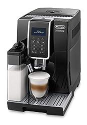 De'Longhi Dinamica ECAM 350.55.B - Kaffeevollautomat mit integriertem Milchsystem, Digitaldisplay mit beleuchteten Tasten, automatische Reinigung, 2-Tassen-Funktion, 23,6 x 42,9 x 34,8 cm, schwarz