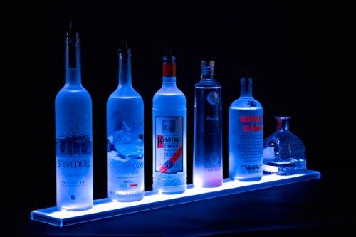 61-cm - Wandmontierbares LED Spirituosen-Regalen und Flaschen-Display (61 cm Länge) - Programmierbares LED-Regal mit drahtloser Fernbedienung, sowie Wandhalterung und Zubehör.
