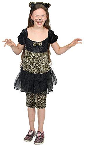 Foxxeo Leoparden Kostüm für Kinder mit Mädchen Kleid Leggins und Ohren Fasching Karneval Tier Motto Party Größe 134-140 (Mädchen Tier Kostüm Kleid)