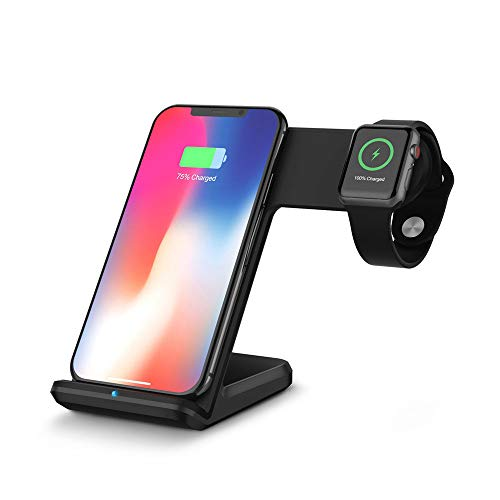 Ouneed® 2 in 1 Qi 10W Ladegerät Wireless Charger Stand Pad Ladematte for Apple Watch Series 4 40/44mm for iPhone X/XS /XS MAX/XR (schwarz) (Wireless Charger G3 Lg Dock)