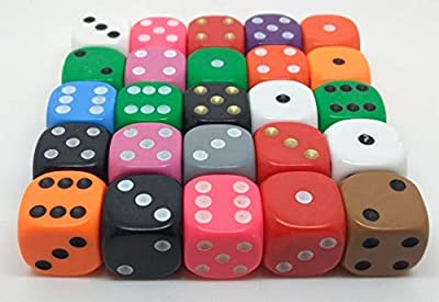 Dice - 25 x 16mm 6 sided spot dice - mixed colours by The Dice Place