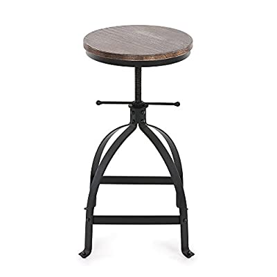 IKAYAA Kitchen Stool Dining Stool Bar Stool Chair Round Industrial Style Adjustable Height Swivel Natural Pinewood & Steel
