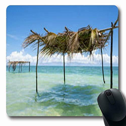 Luancrop Mousepads Getaway Rustikale Palmwedel-Baum-Schatten-Niederlassung Palapa Parks Bahia-Ufer im Freien Längliche Spiel-Mausunterlage rutschfeste Gummimatte (Freien Spielen Park Im)