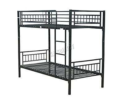 FoxHunter 3FT Single Metal Frame Bunk Bed Children Kids Twin Sleeper No Mattress Bedroom Furniture Black MBB03