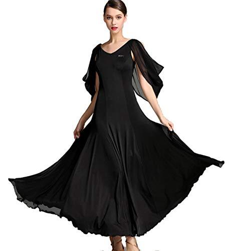 leid für Frauen National Standard Ballsaal Tanz Outfit Spitzenn hte Tango Walzer Für Frauen Professionel Performance Wettbewerb,Black,XXL ()