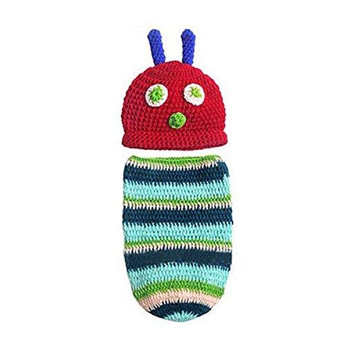 , Fascigirl Fotografie Requisiten Cartoon Caterpillar HäKeln Foto Requisiten Set KostüM Outfit für Neugeborene (Caterpillar-kostüme)