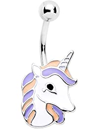 Body Candy Stainless Steel Pink Purple Youthful Unicorn Belly Ring