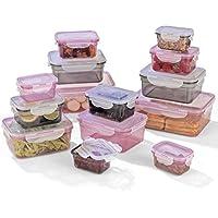 GOURMETmaxx Frischhaltedosen klick-it, Luftdichte Aufbewahrungsboxen, 28 Teile, Geeignet für Mikrowelle, Gefrierschrank und Spülmaschine, Kunststoff-Bpa Frei,rosa/grau